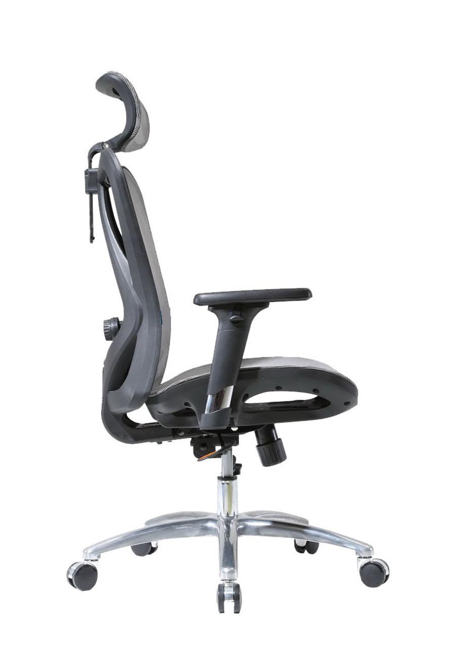 KB-1_人體工學椅_電腦椅_黑框黑網_側面照片