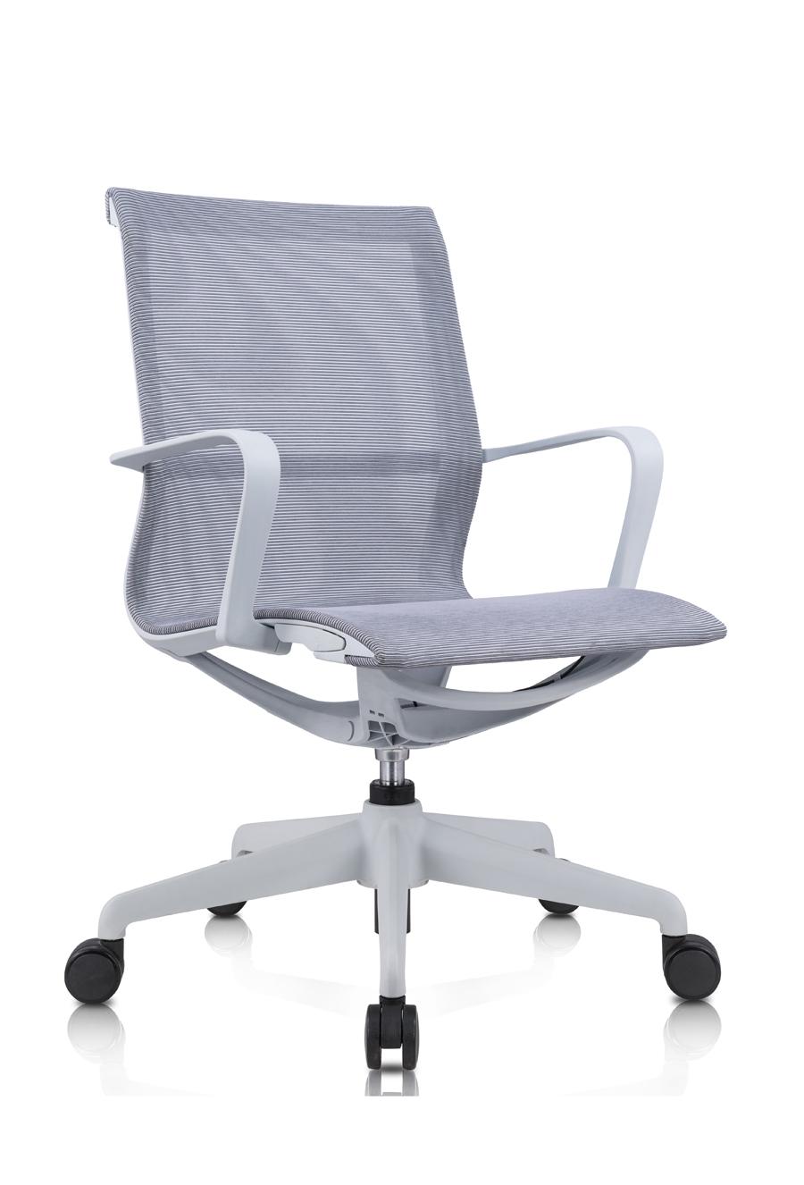 Amber_電腦椅_辦公椅_灰框灰網_正斜面照片
