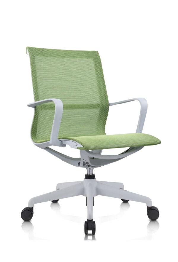 Amber_電腦椅_辦公椅_灰框綠網_正斜面照片