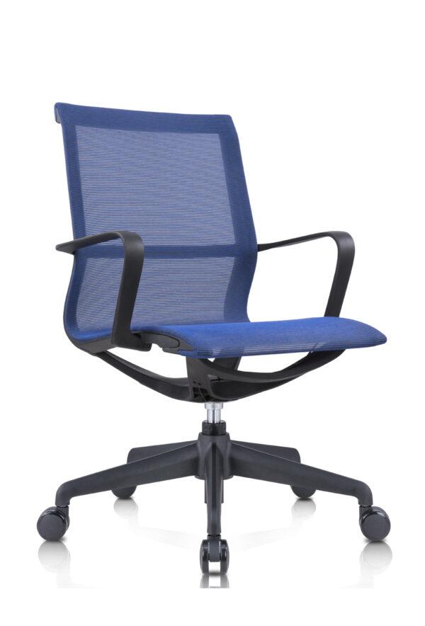 Amber_電腦椅_辦公椅_黑框藍網_正斜面照片