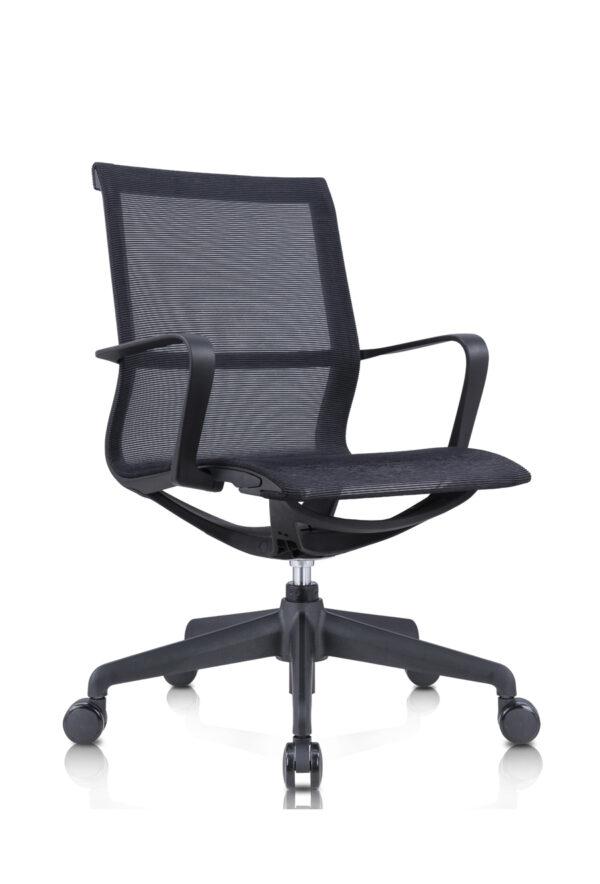Amber_電腦椅_辦公椅_黑框黑網_正斜面照片