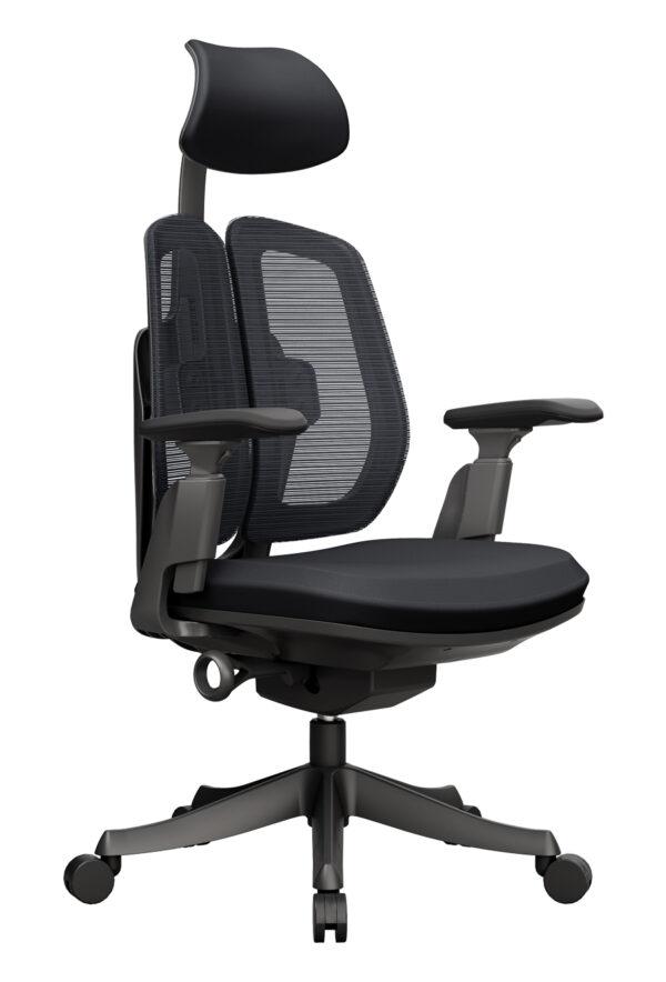 Dualmax_電腦椅_雙背椅_黑色_正斜面照片